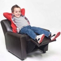 Kid Recliner Chair Children Arm Chair Bonded Leather Brown