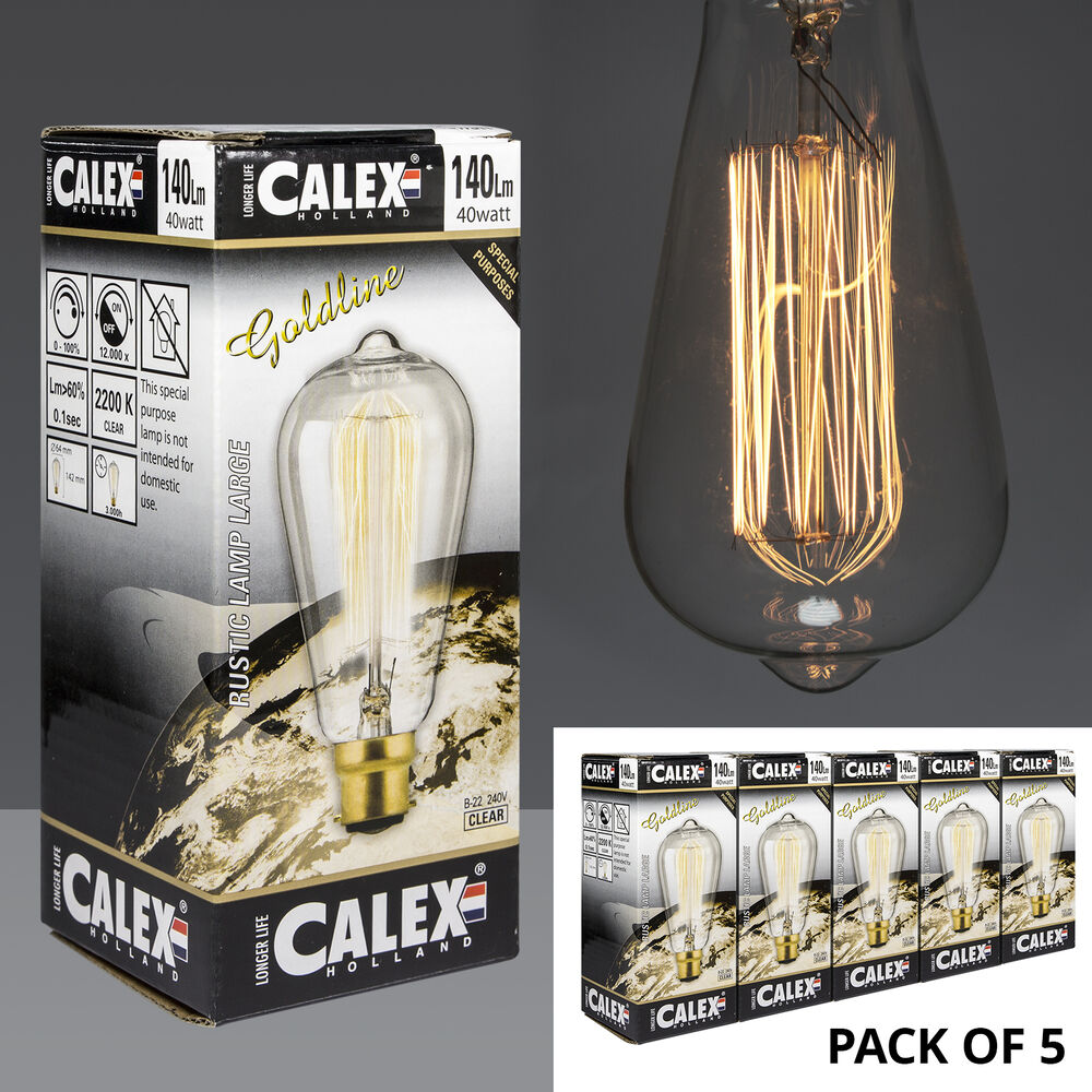 Calex Goldline Pack Of 5 Calex Goldline Rustic 40w Carbon Filament Lamps With Bayonet Cap Ebay