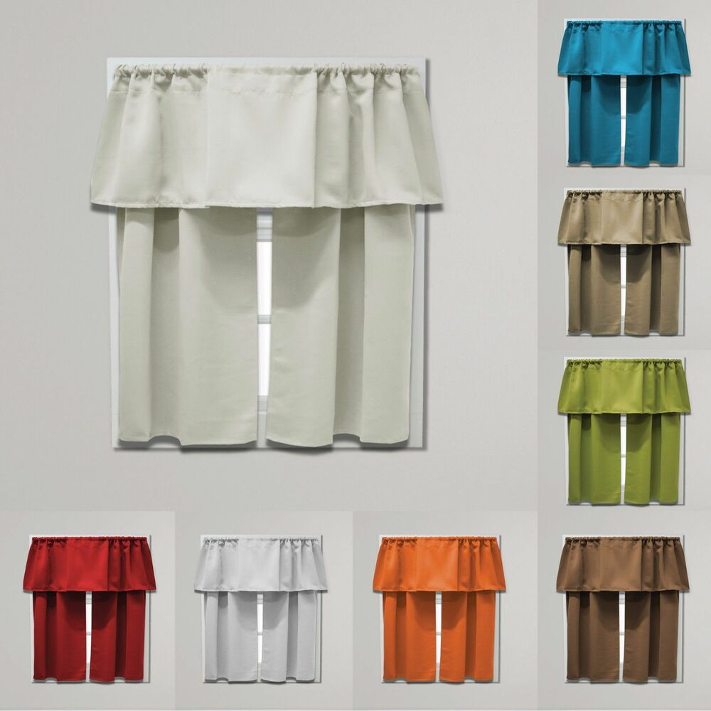 36 Inch Room Darkening Curtains Beth Blackout Tier And Valance Curtain Set 54 Inches Wide X 36 Inches Long Ebay