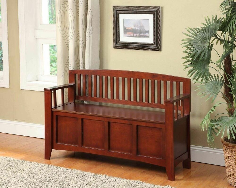 Wooden Storage Bench Walnut Finish Wooden Storage Bench Flip Top Entryway Bedroom Hallway Organizer Ebay