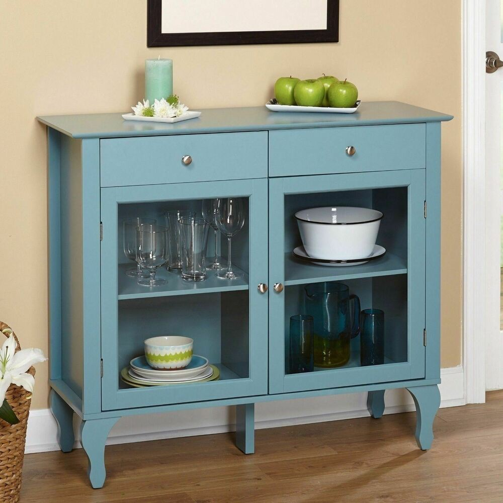 Buffet Sideboard Blue Blue Wood Glass Door Buffet Sideboard China Storage Cabinet Server