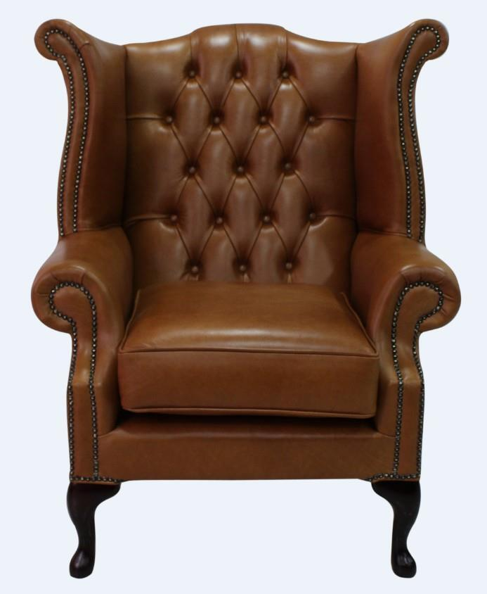 Chesterfield Armchair Queen Anne High Back Wing Chair - Leather Queen Chair