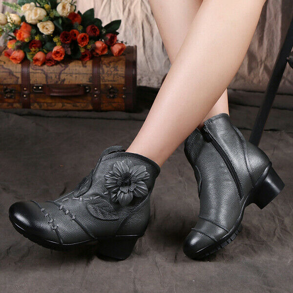 Socofy Vintage Women Zipper Ankle Leather Boots Floral - Handmade Boots