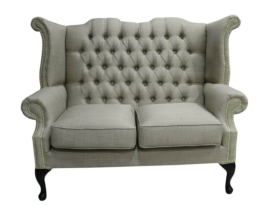 Sofa Queen Anne Chesterfield 2 Seater Queen Anne High Back Sofa Charles Fudge Brown Fabric Ebay