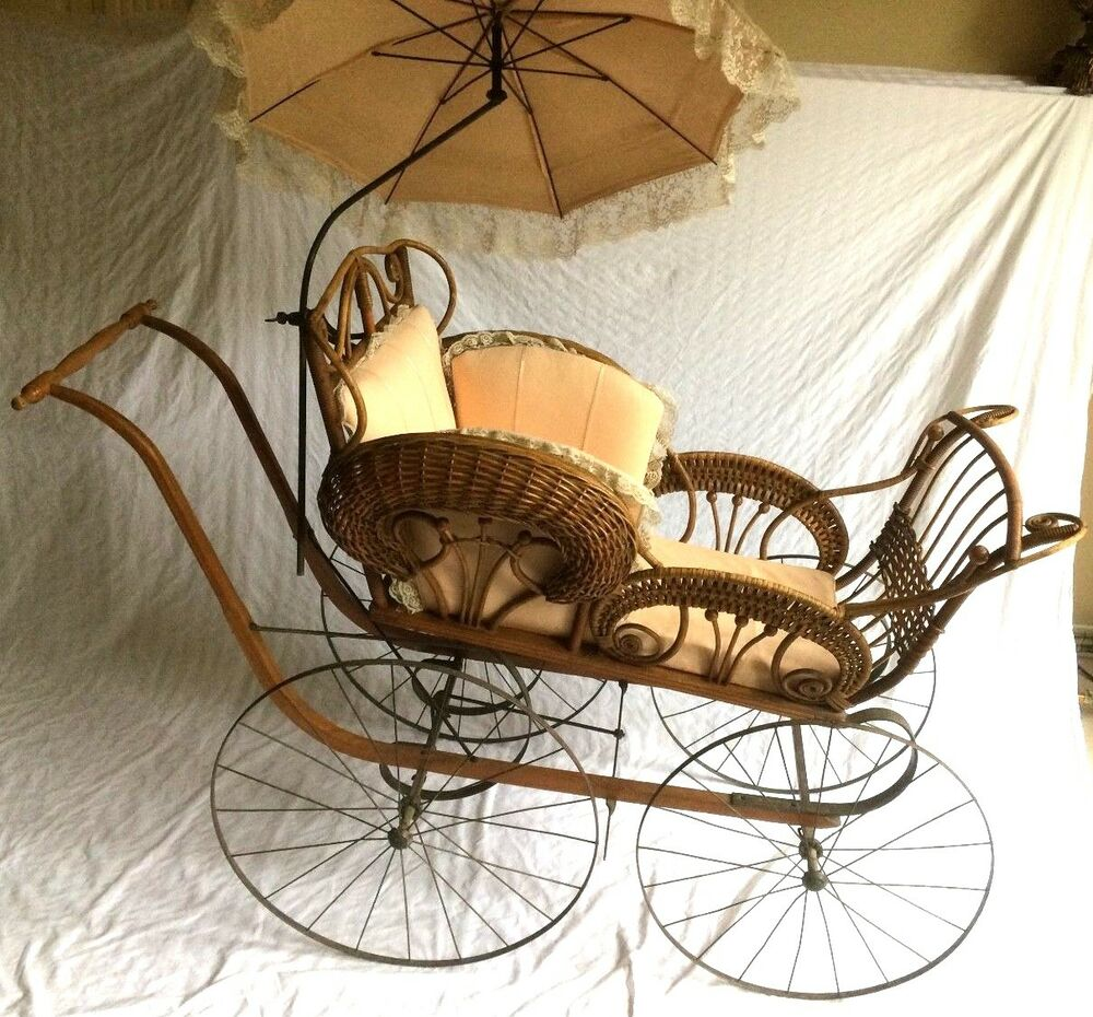 "Doll Stroller Vintage Antique 55""long Wicker Baby Carriage W Parasol Sears"