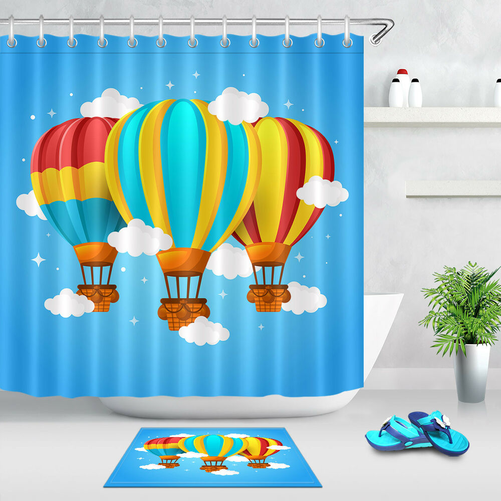 Air Curtain Shower 100 Polyester Fabric Colorful Hot Air Balloon Shower Curtain