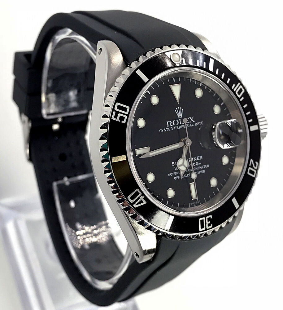 Rolex Rubber Rubber Dive Strap For Rolex Submariner Black 20mm Curved End Band Usa Seller Ebay