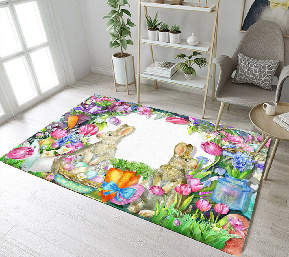 Machine Wash Rugs Easter Garden Flowers Bunny Decor Carpet Living Room Area Rugs