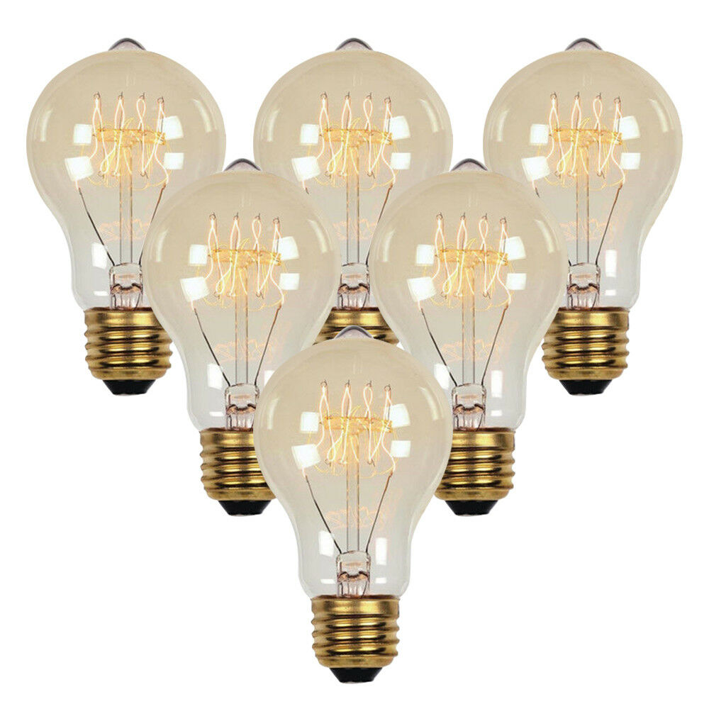 60w Light Bulb 6 Pcs 40 60w Vintage Retro Industrial Edison Lamp Filament Light Bulb Globe E26 Ebay