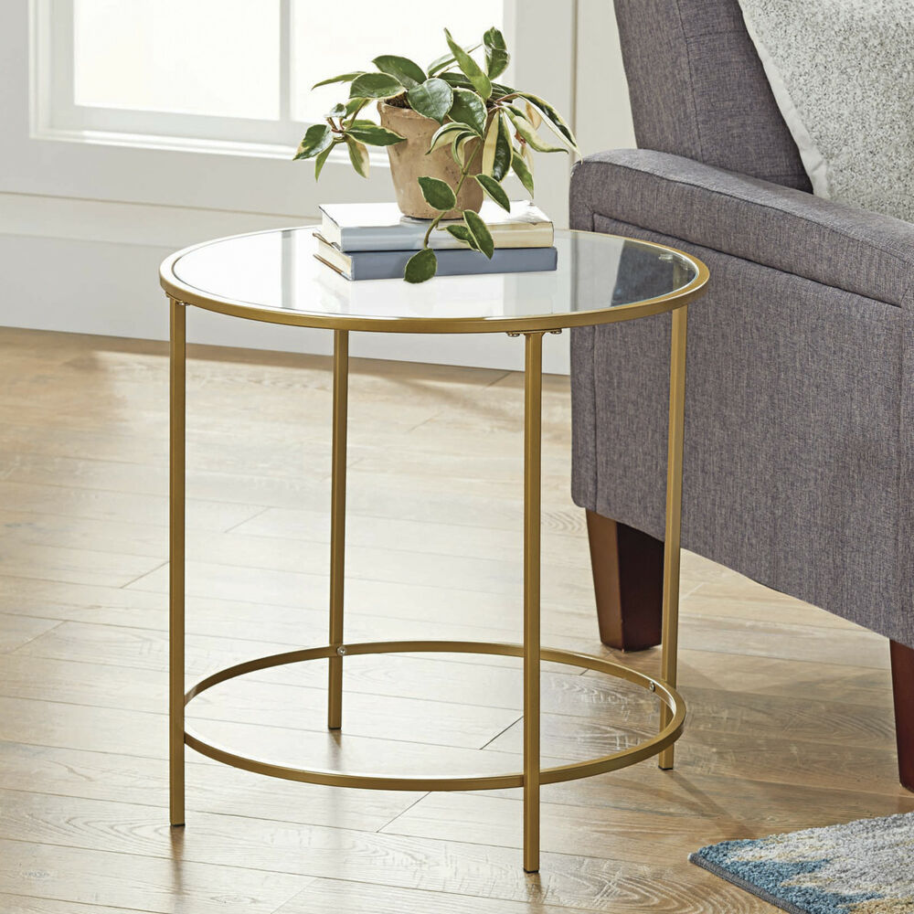 Round Glass Bedside Table Metal And Glass Side Table