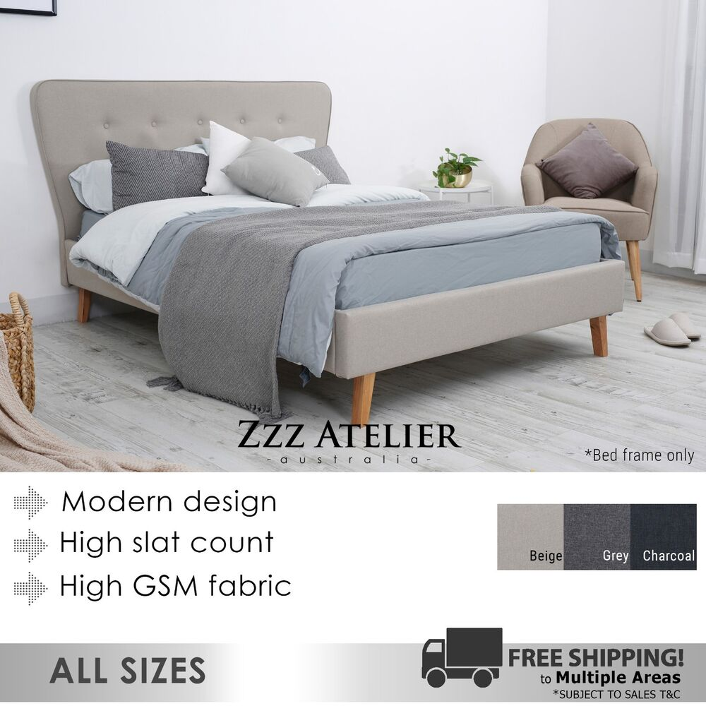 King Bed Ensemble Base Only New Scandi Queen Double King Single Size Fabric Bed Frame Charcoal Grey Beige Ebay