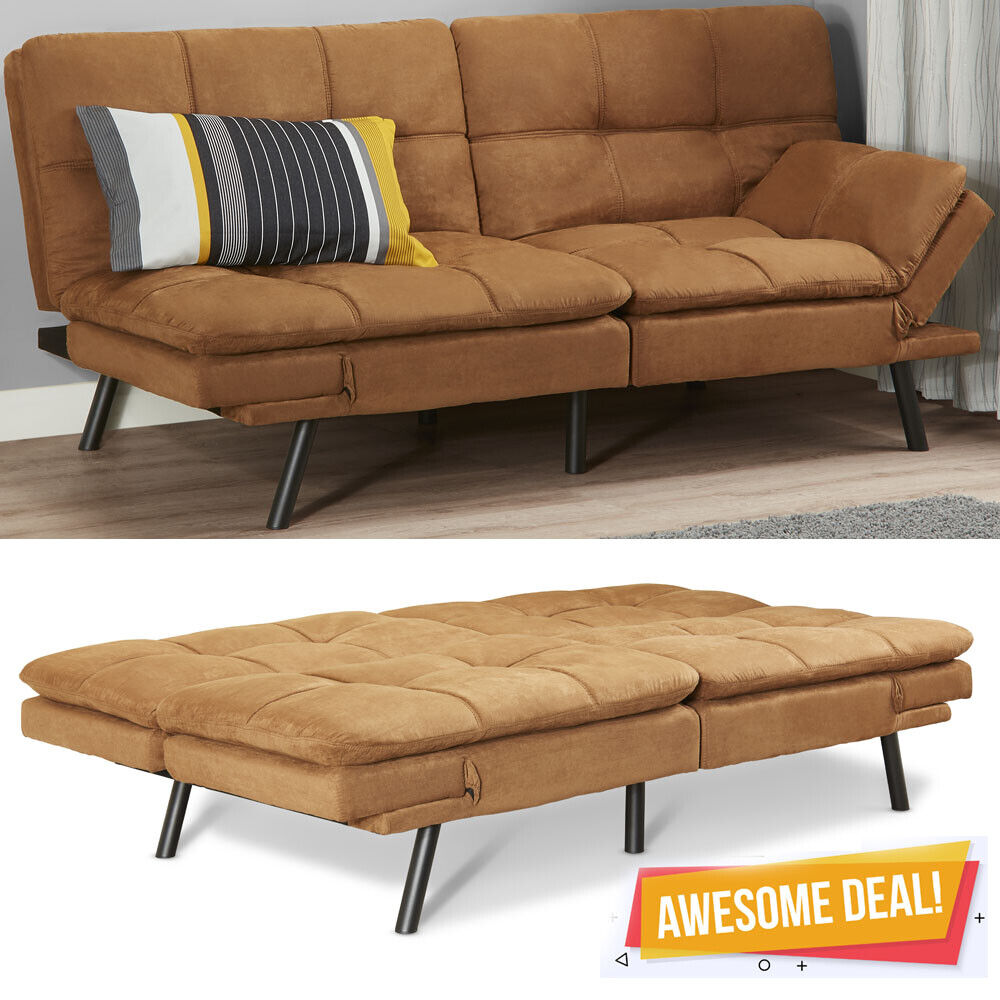 Sofa Foam Cleaner Memory Foam Suede Fabric Futon Sofa Bed Couch Foldable Winged Armrest Wood Beige Ebay