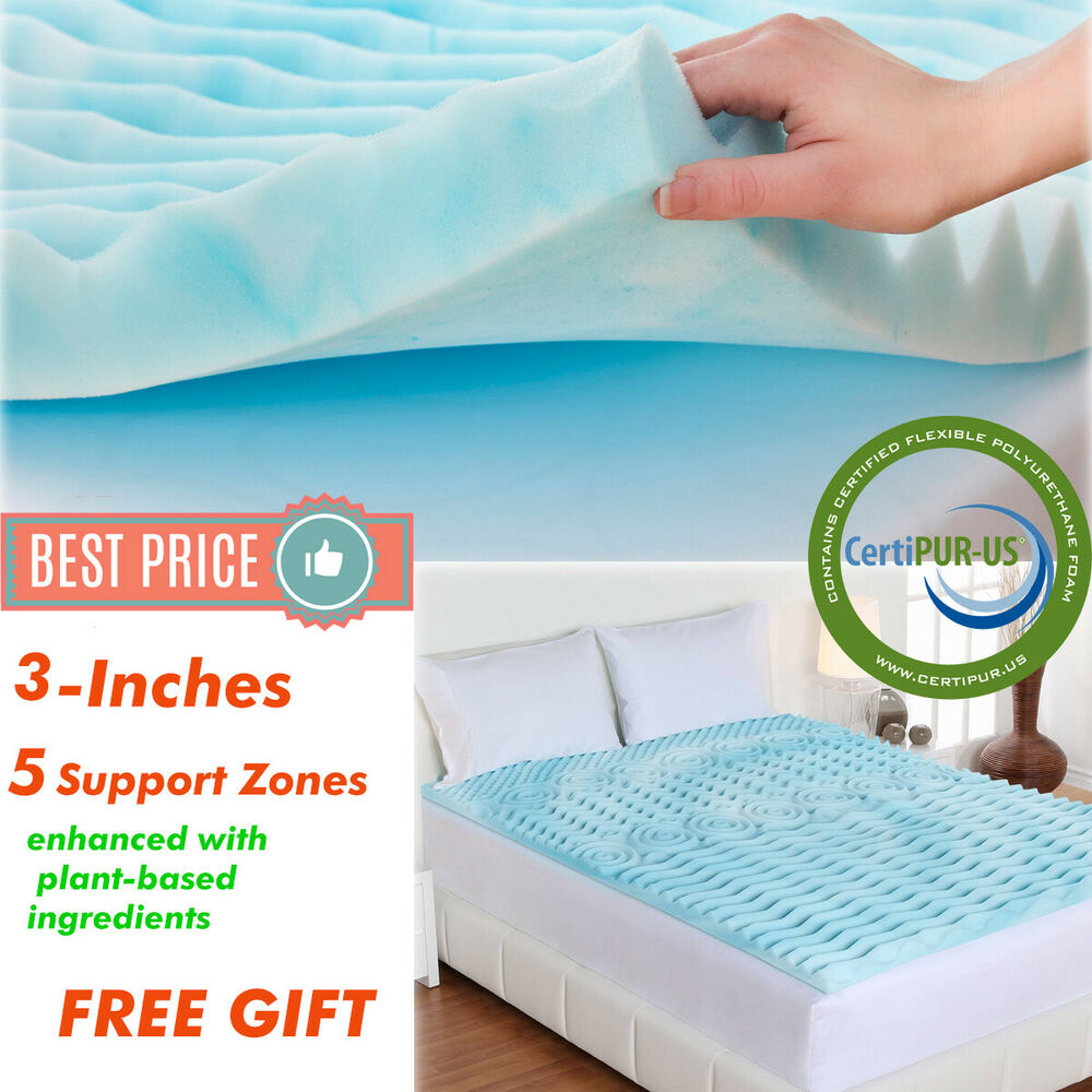 Gel Topper 200x200 Orthopedic 3 Inch Non Memory Foam Mattress Topper Queen Size Gel Pad Cover Bed Ebay