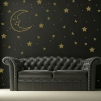 SET OF STARS AND MOON KIDS WALL DECAL STICKERS rub on ...