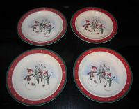 4 Royal Seasons Stoneware Bread Dessert Plates Snowman ...