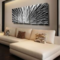 Large Silver Metal Wall Art Panels Modern Abstract Indoor ...