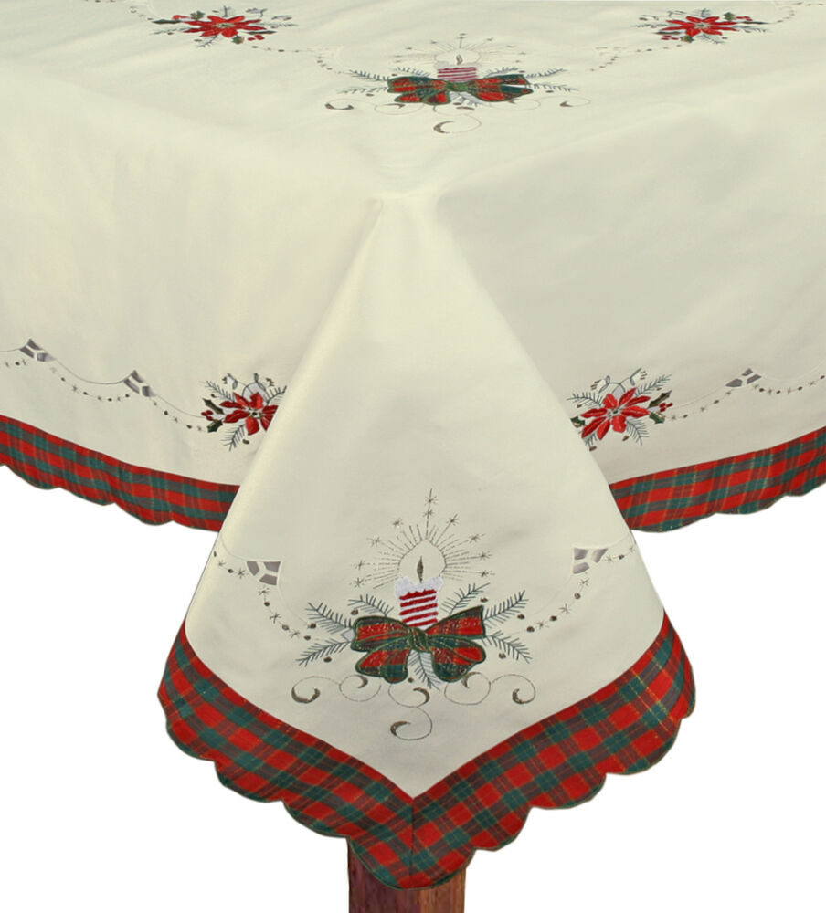 Tischdecken Weihnachten Christmas Embroidered Poinsettia Candle Tablecloth