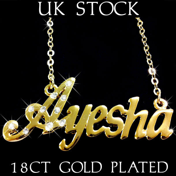 3d Fatima Name Wallpaper Ayesha Name Necklace 18k Gold Plated Asian Arabic