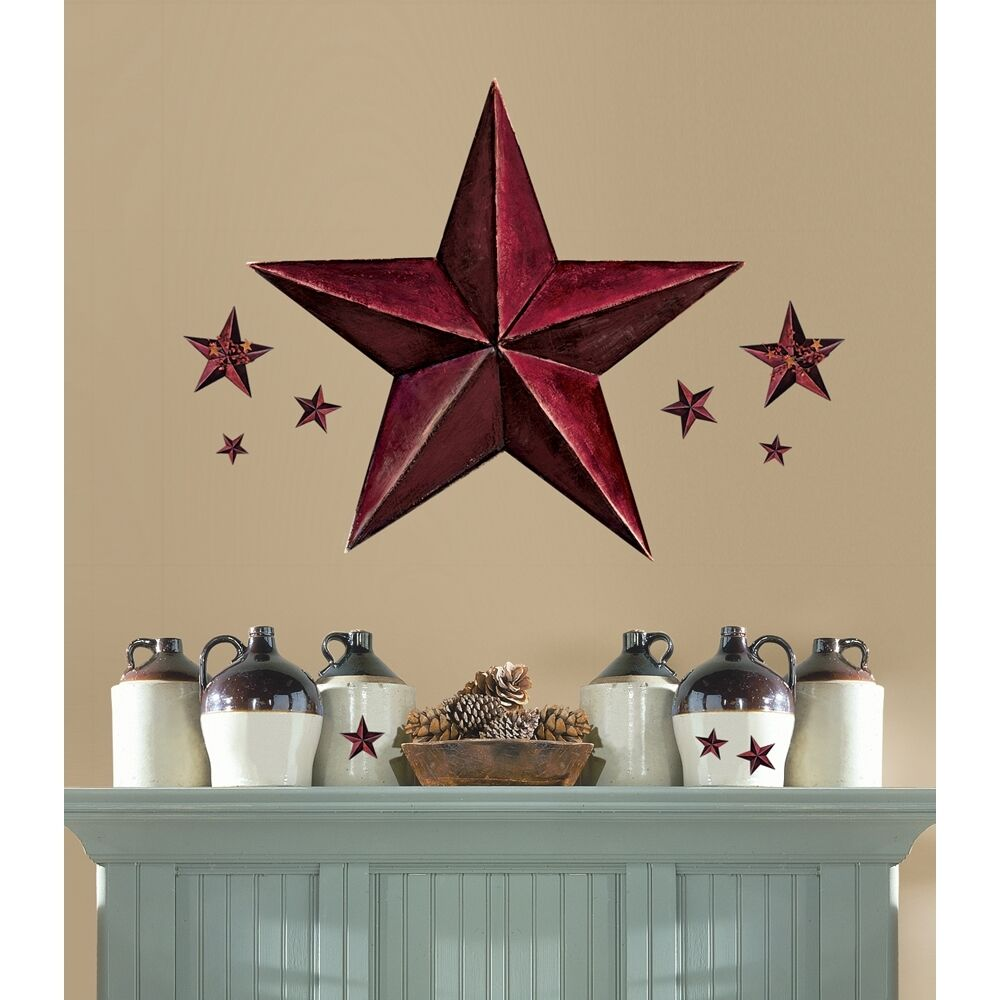 New Giant Burgundy Barn Star Wall Decals Country Kitchen