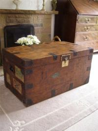 ANTIQUE VINTAGE WOODEN STEAMER TRUNK SUITCASE COFFEE TABLE ...