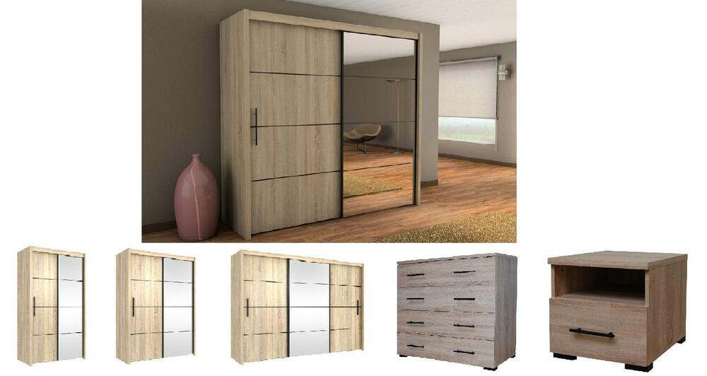 Inova Sliding Door Wardrobe Oak Bedroom Furniture Bedside