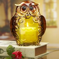 OWL CANDLE HOLDER - METAL & COLORED GLASS | eBay