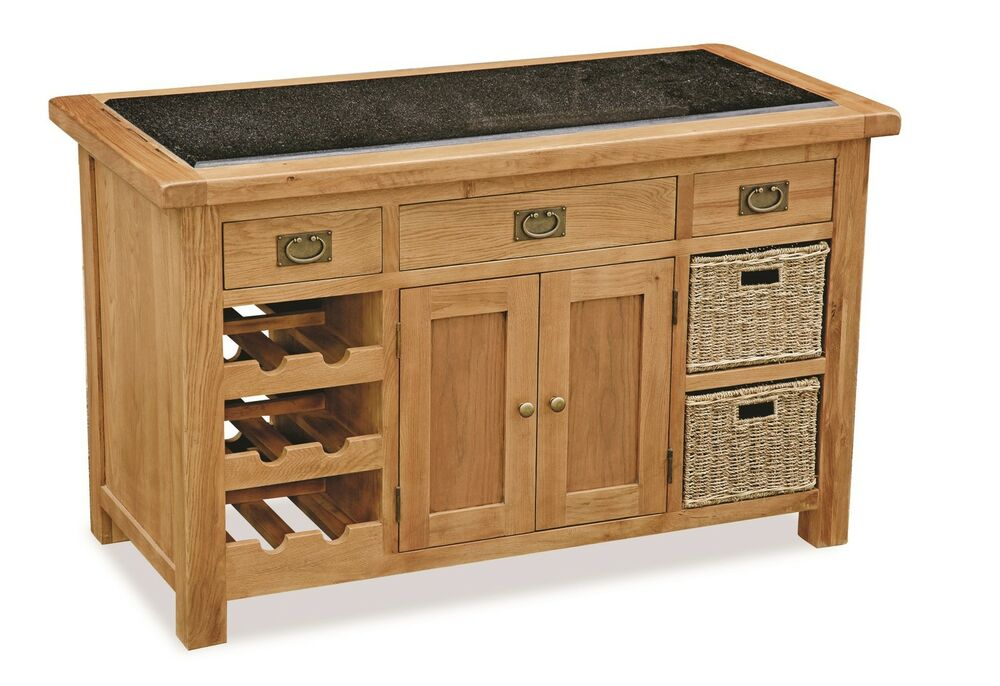Kitchen Island Butchers Block Zelah - Oak Granite Top Kitchen Island / Butchers Block