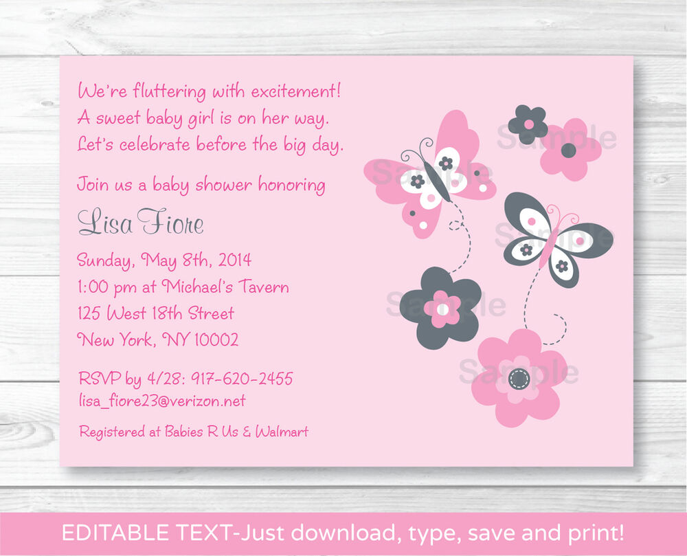 Pink Gray Butterfly Flowers Printable Baby Shower