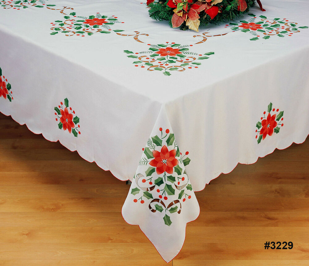"Tischdecken Weihnachten Holiday Christmas Poinsettia Tablecloth 68x84"", 68x104"