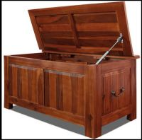 Wooden Chest Box Storage Bench Trunk Large Lid Acacia Wood ...