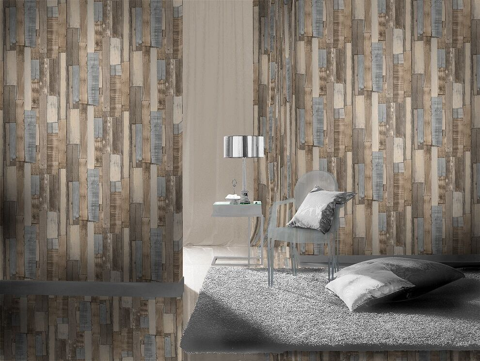 3d Faux Stone Wallpaper Brown Grey Old Scrap Wood Panel Wall Designer Feature