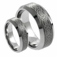 His & Her's 8MM/6MM Tungsten Carbide Celtic Knot Design ...
