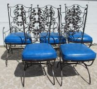 Vintage Mid Century Modern Patio Wrought Iron Chairs with ...