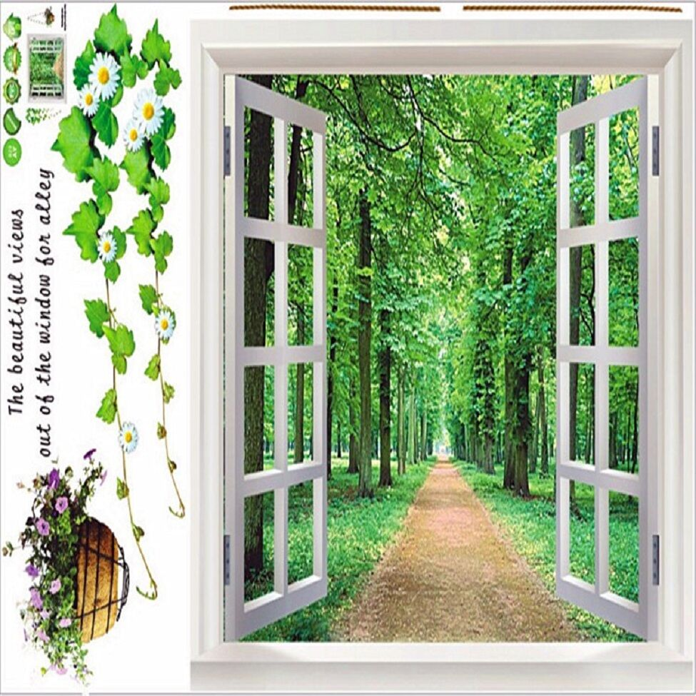 3d Wallpaper Of Deer Large Adhesive Texture Forest Trees Trail Wall Decal