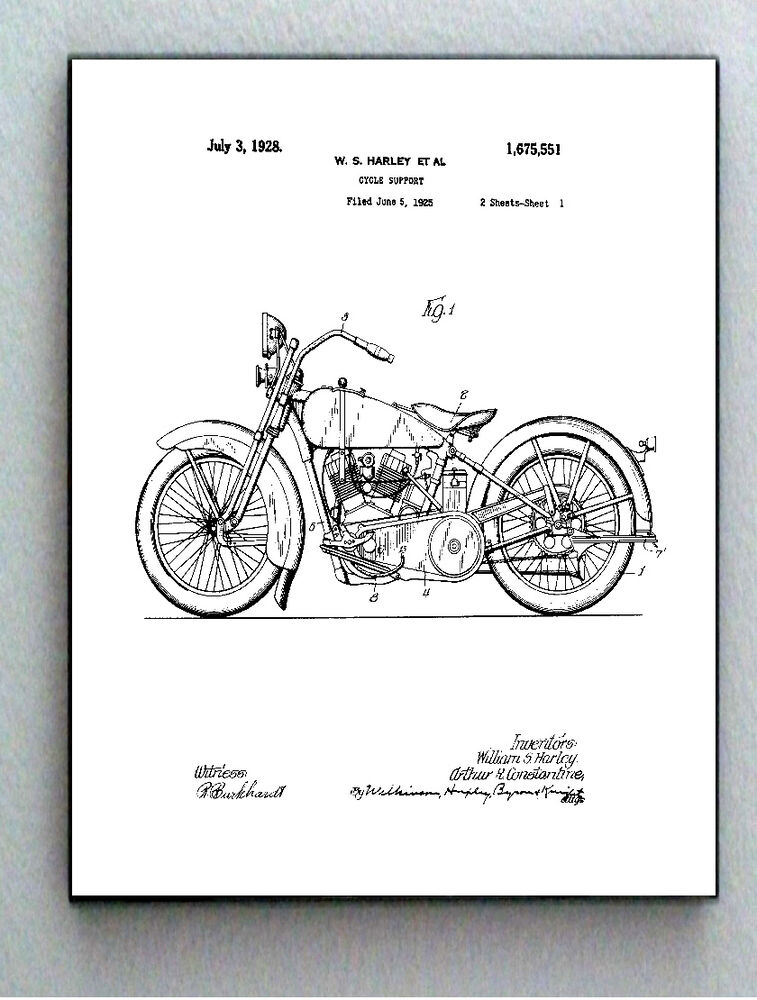 Framed 85 X 11 Harley Davidson Motorcycle Original Patent Diagram