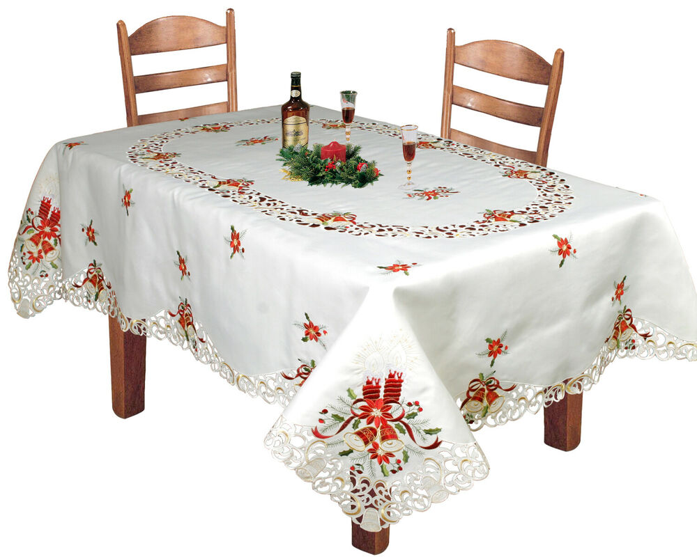 Tischdecken Weihnachten Holiday Christmas Embroidered Poinsettia Bell Tablecloth