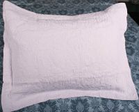 Standard Quilt Sham Kathleen White Cotton Quilted Pillow ...
