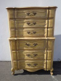 French Provincial Rococo Dresser Chest Drawers Bombe ...