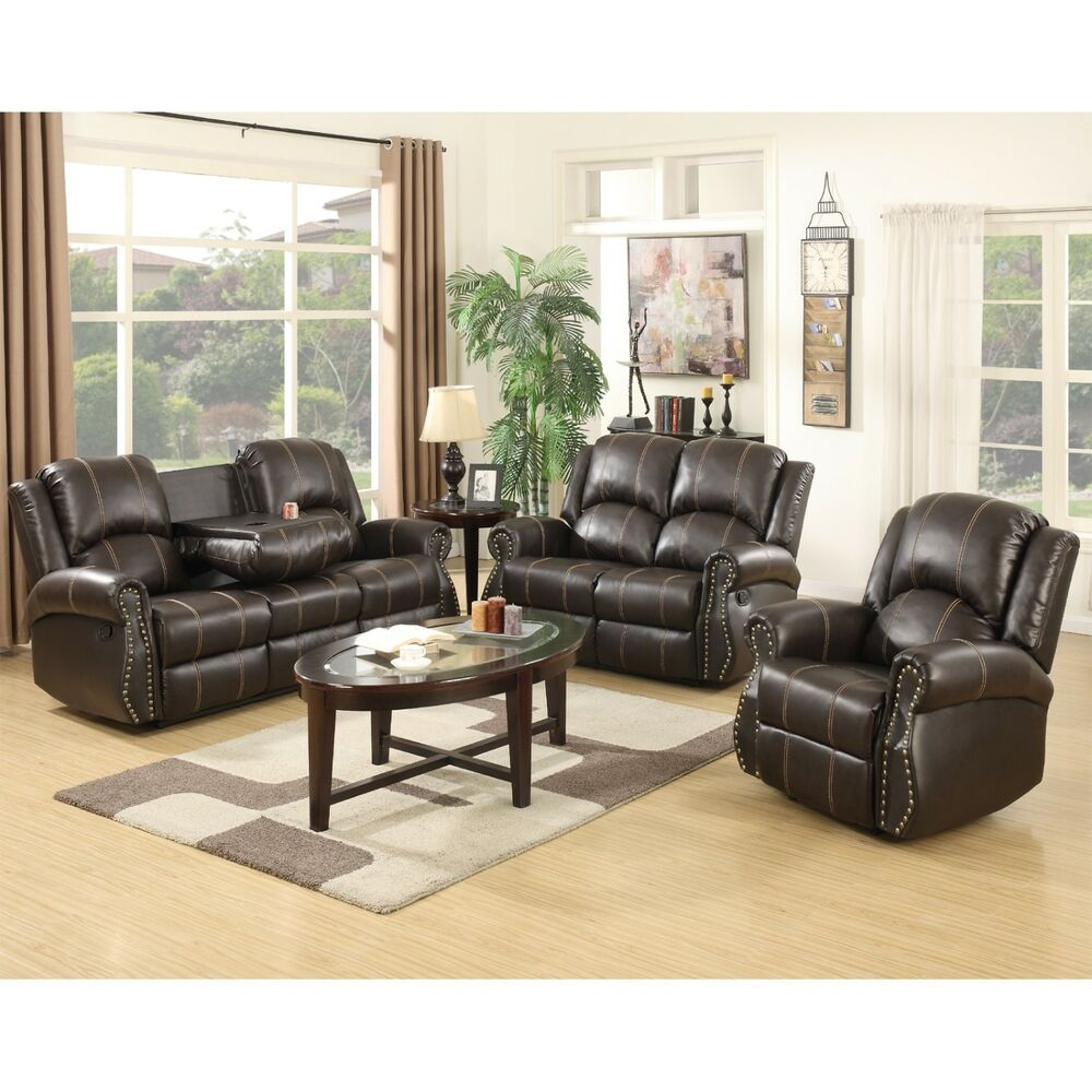 Gold Thread 3 2 1 Sofa Set Loveseat Couch Recliner Leather - 3 2 1 Sofa Set
