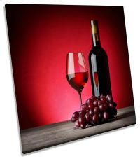 Wine Bottle Glass Grapes Kitchen SQUARE CANVAS WALL ART ...