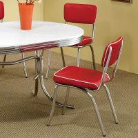 Red Retro Dining Chair 2 Pack 50s Diner Chrome Kitchen ...
