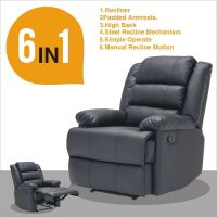 Real Leather Recliner Armchair Lounge Chair Sofa Reclining ...