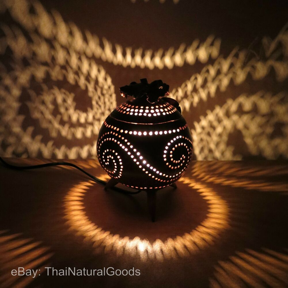 Nachttischlampe Led Touch Wooden Bedside Table Lamps Made Of Coconut Shell - Asian
