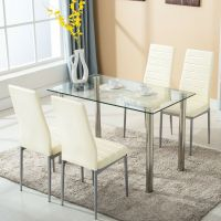 5 Piece Dining Table Set w/4 Chairs Glass Metal Kitchen ...