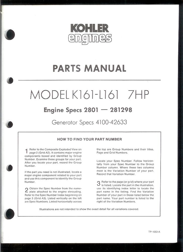 Rare Original Factory Kohler K161-L161 7HP Parts Manual Engine Specs