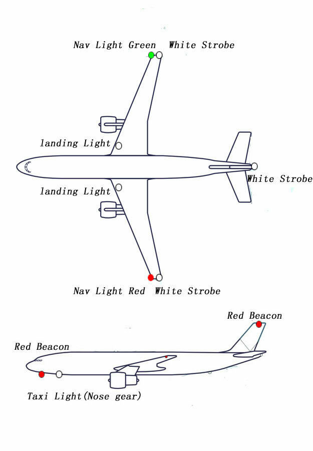 RC True Realism Large Scale Navigation 12 LED Lights For RC Plane