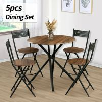 5 Piece Dining Table Set 4 Chairs Wood Kitchen Dinette ...