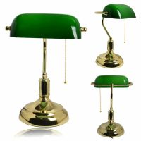 LED Classic Vintage Antique Brass Green Bankers Desk Table ...