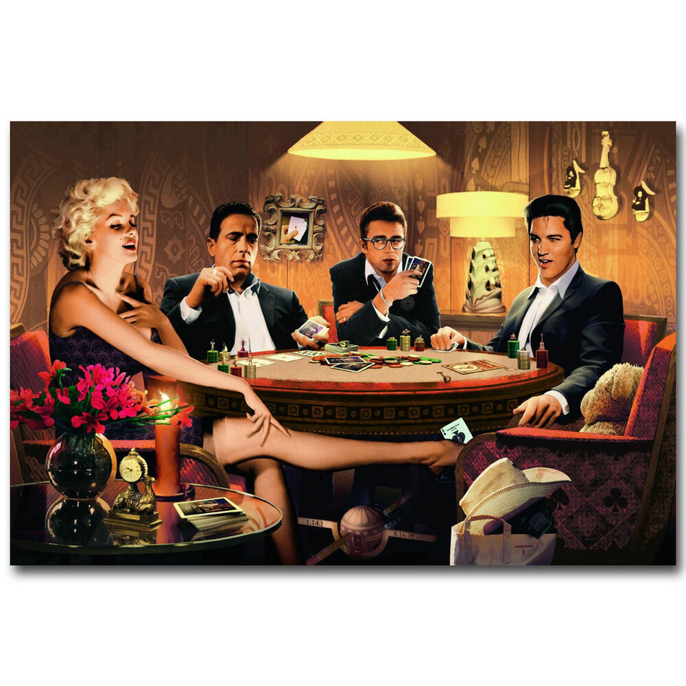 Elvis Marilyn Monroe Marilyn Monroe James Dean Elvis Presley Playing Poker Funny Art Poster Ebay