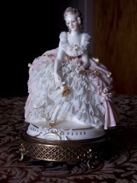 Antique Dresden Porcelain Lace Figurine Brass Base Boudoir ...